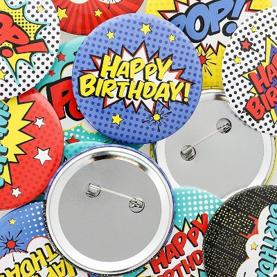 Juvale 15-Pack Comic Book Hero Pins Pack Buttons Birthday Party Favor Supplies 2 in