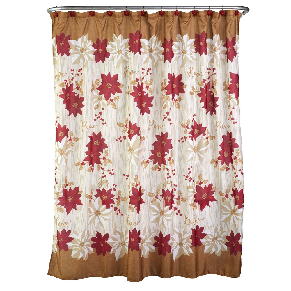 Image of Poinsettia Shower Curtain and Hook Set - SKL Home