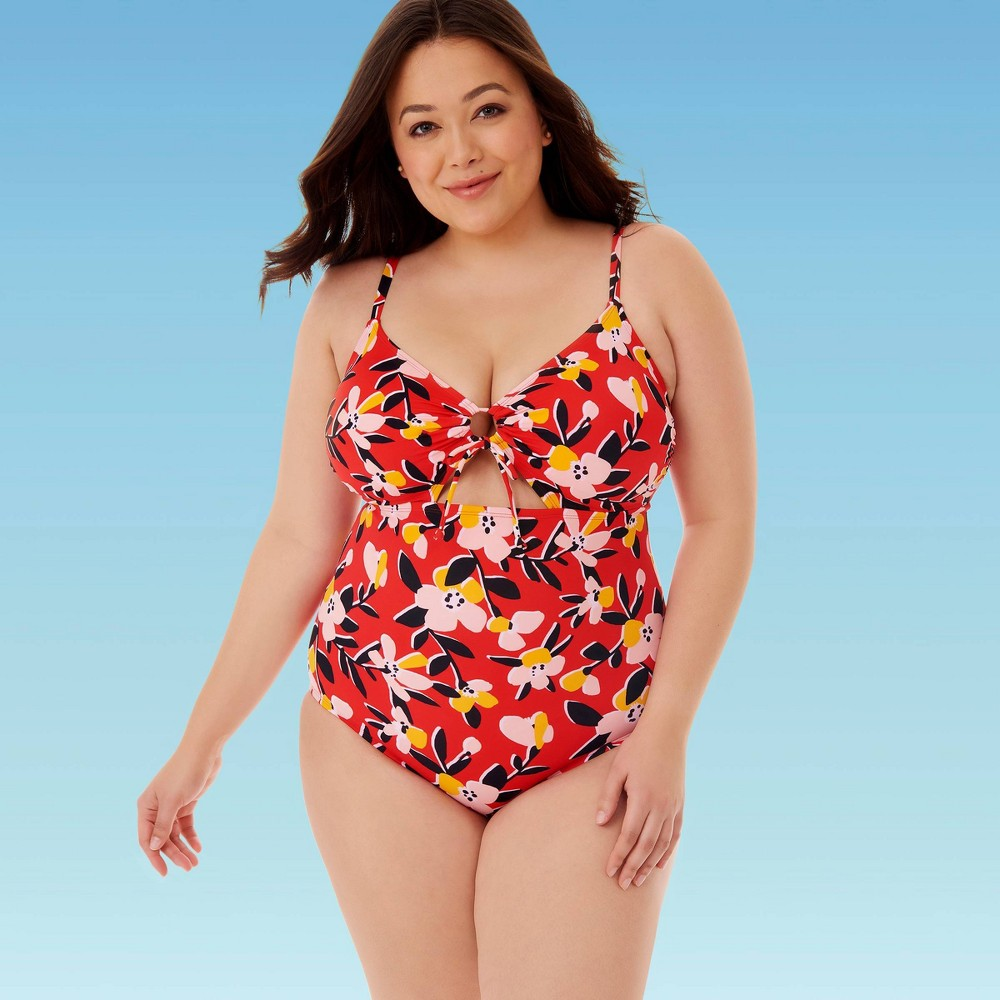 Image of Women's Plus Size Slimming Control Drawstring Cut Out One Piece Swimsuit - Beach Betty By Miracle Brands 1X, Women's, Size: 1XL, MultiColored