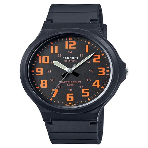 Men's Casio Super Easy Reader Watch - Black/Orange (MW240-4BV) - image 1 of 1