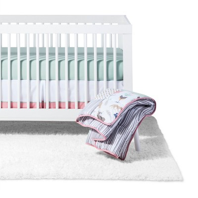 Sweet Jojo Designs Crib Bedding Set - Coral & Mint Woodsy - 11pc