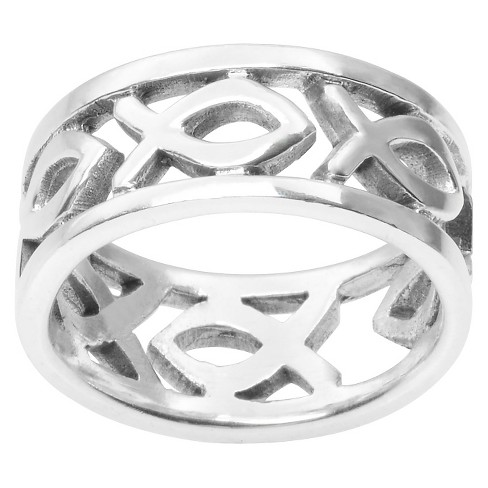 Women's Journee Collection Christian Fish Band in Sterling Silver (8MM) - image 1 of 3