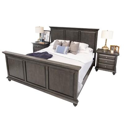 Moore City Gray 3 Piece Queen Bedroom Set   Brown   Abbyson