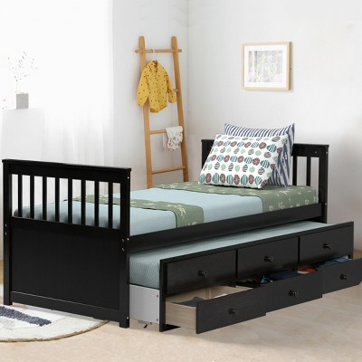 Costway Twin Captain's Bed Bunk Bed Alternative w/ Trundle & Drawers for Kids WalnutEspressoWhite