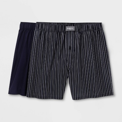Men's Striped Woven 2pk Boxer - Goodfellow & Co™ Navy