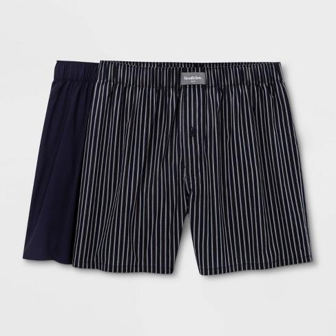 Men's Striped Woven 2pk Boxer - Goodfellow & Co™ Navy - image 1 of 2