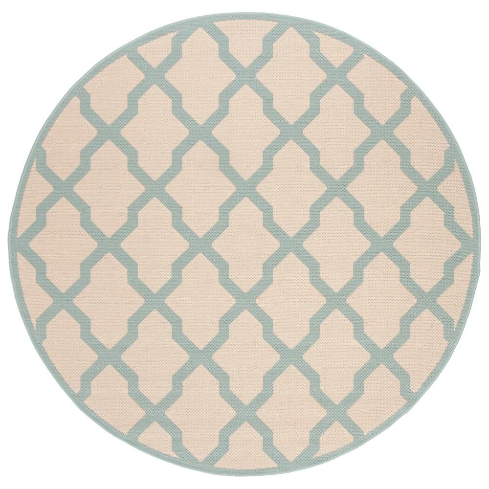 6 7 Geometric Loomed Round Area Rug Cream Aqua Safavieh