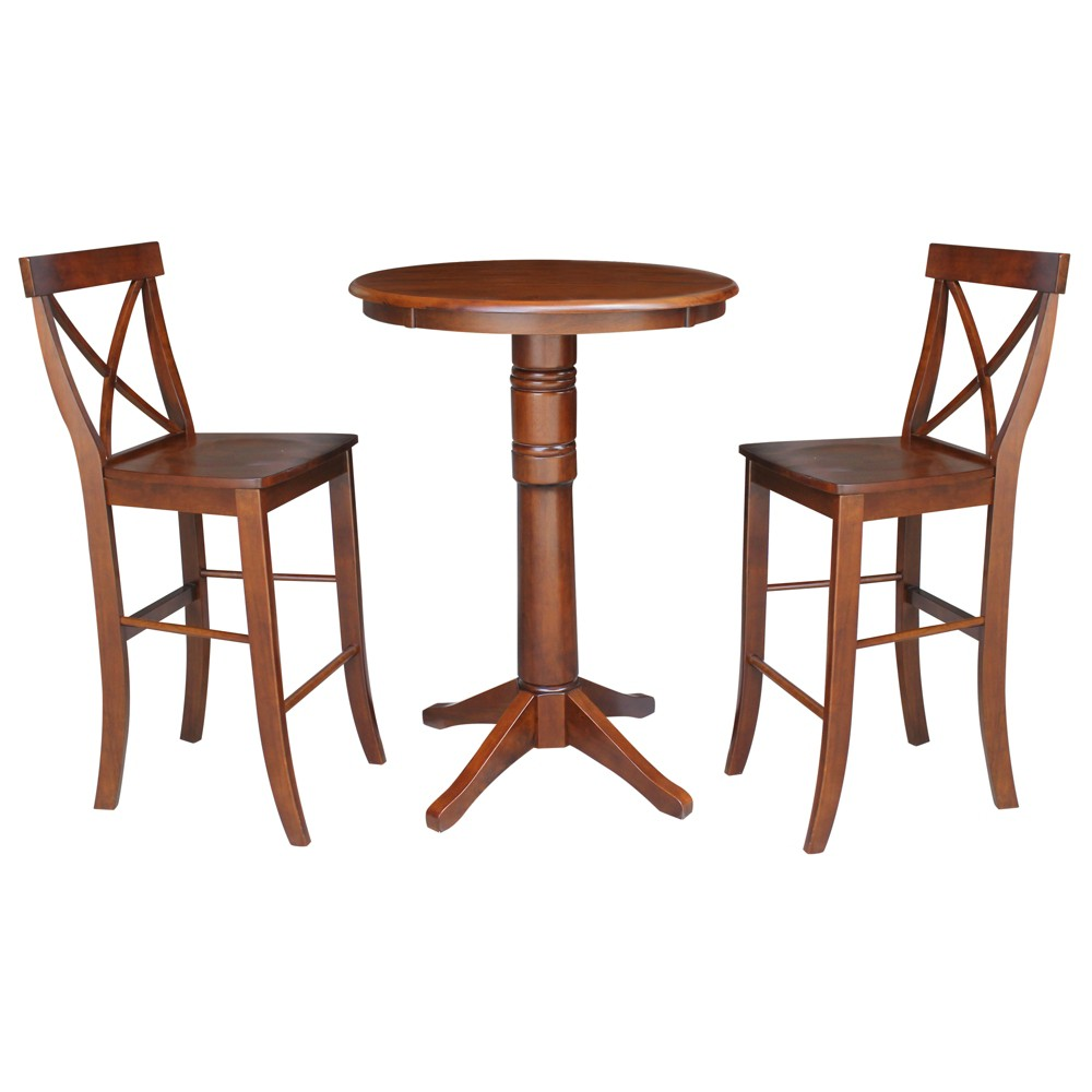 30 3pc Ida Round Pedestal Bar Height Table with 2 Stools Set Espresso - International Concepts, Brown