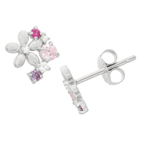 0.3 CT. T.W. Children's Fashion Cubic Zirconia Flower Earrings In Sterling Silver - image 1 of 1