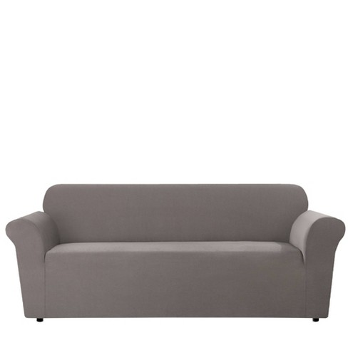 Stretch Micro Check Sofa Slipcover Gray, Round Couch Slipcovers