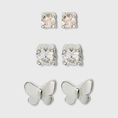 Sterling Silver Cubic Zirconia and Butterfly Stud Earring Set 3pc - A New Day™ Silver