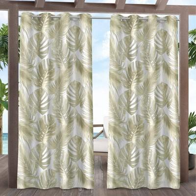 Set of 2 Jamaica Palm Indoor/Outdoor Light Filtering Grommet Top Curtain Panel - Exclusive Home