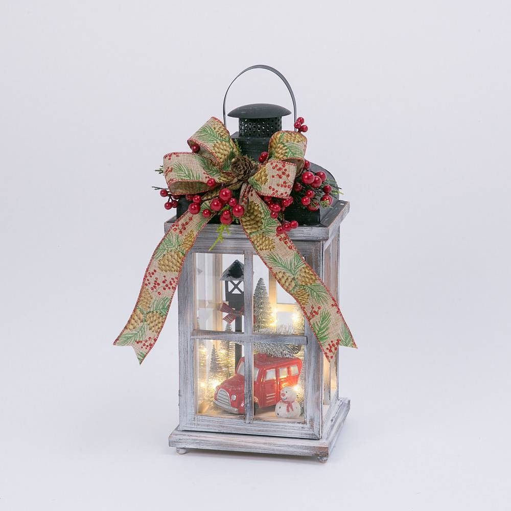 "Image of ""15"""" Battery Operated Wood Lantern with Holiday Scene and Timer Feature Decorative Figurine - Gerson International"""