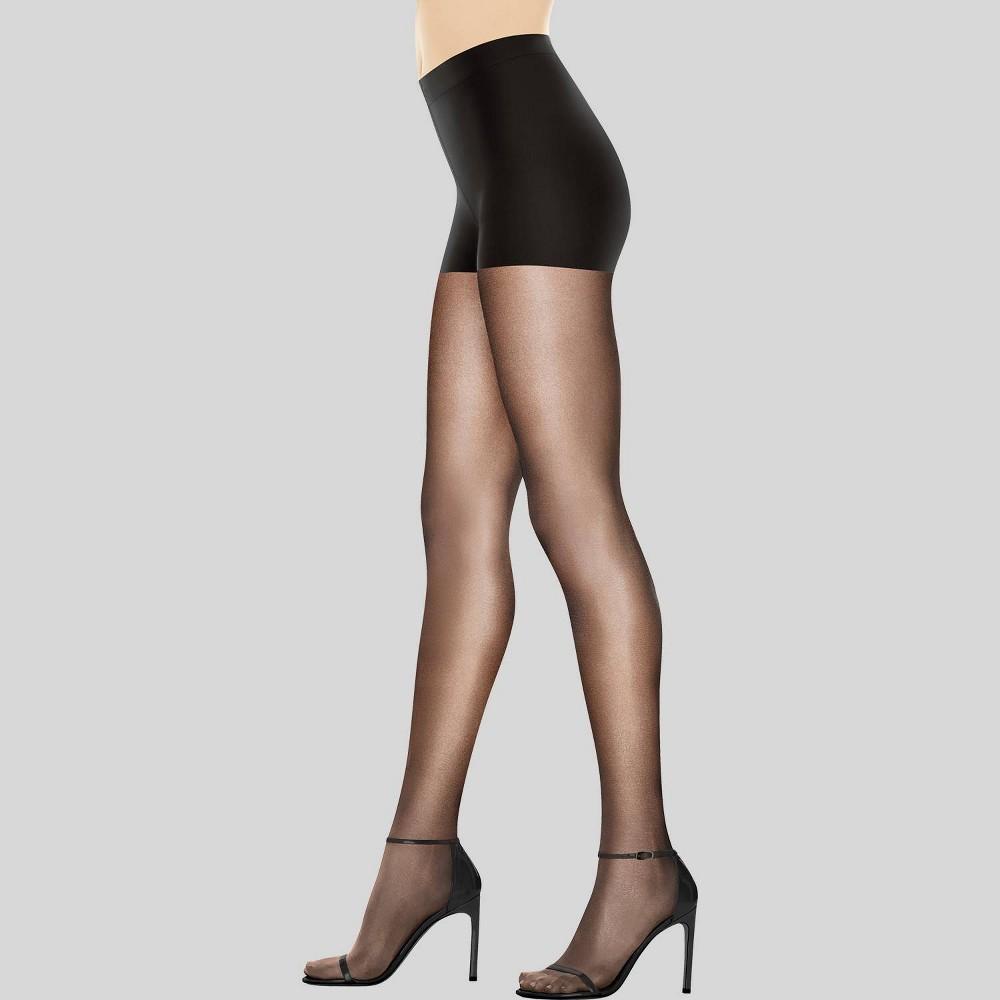 Hanes Premium Women's Perfect Nudes Control Top Silky Ultra Sheer Pantyhose - Black 3X-4X, Jet Black