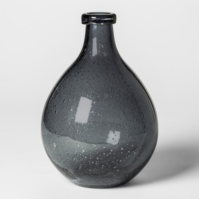 Vase Bubbled Glass - Dark Gray - Threshold™