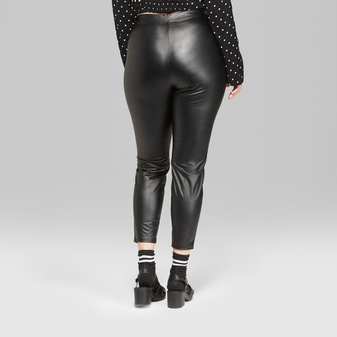 b012714537a97 Women s Plus Size Faux Leather High-Rise Leggings With O-Ring Zipper - Wild  Fable™ Black   Target