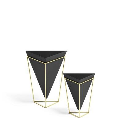Set of 2 Trigg Tabletop Vessels Black/Brass - Umbra