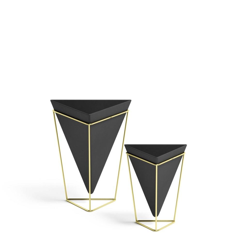 Set Of 2 Trigg Tabletop Vessels Black Brass Umbra