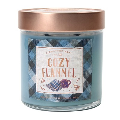 15.2oz Large Lidded Jar 2-Wick Candle Cozy Flannel - Signature Soy