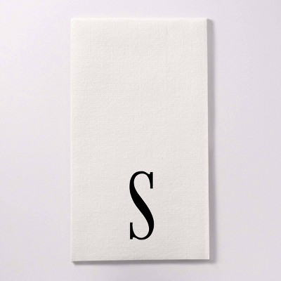"""50ct 4.25""""x8"""" Personalized Lettering Linen Like Guest Napkins"""