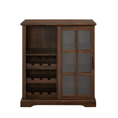Sliding Glass Door Bar Cabinet Dark Walnut - Saracina Home