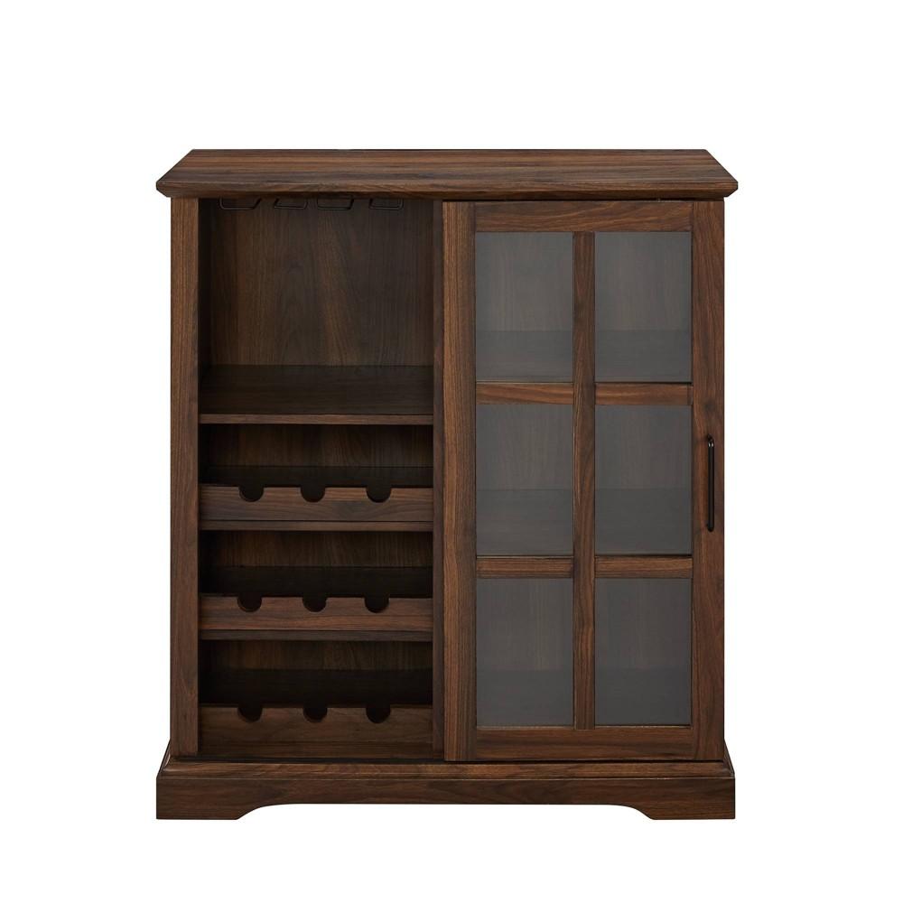 Sliding Glass Door Bar Cabinet Dark Walnut Saracina Home