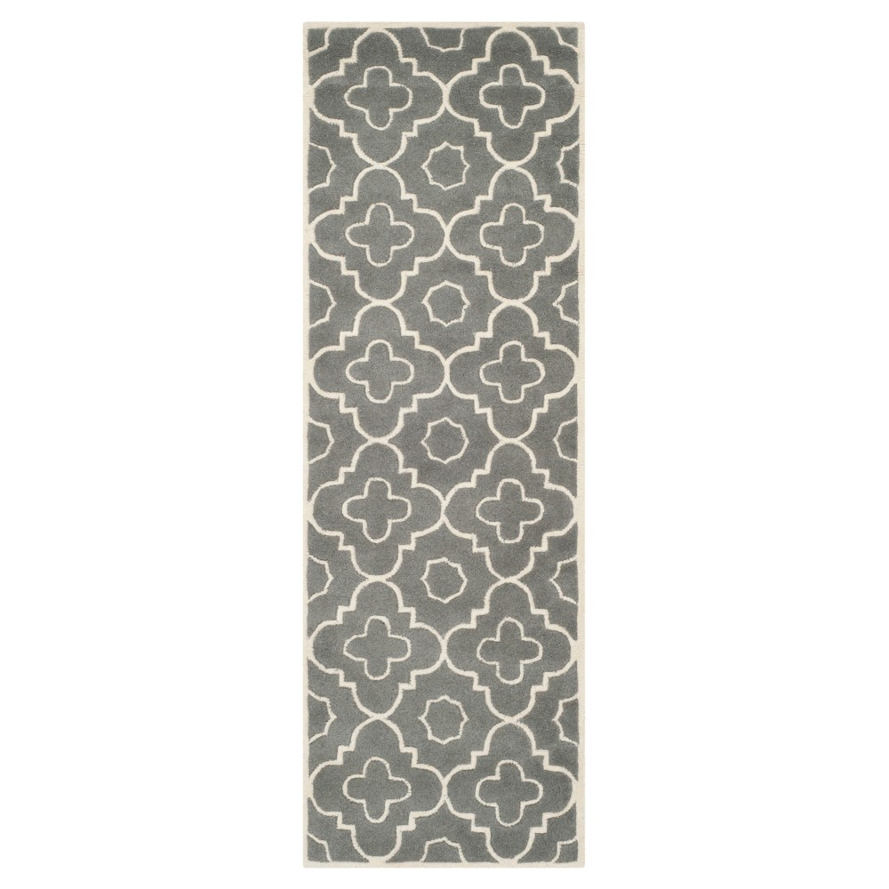 Dark Gray/Ivory Abstract Tufted Runner - (2'3x11' Runner) - Safavieh