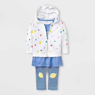 Baby Girls' Tunic, Hoodie and Leggings Set - Cat & Jack™ Blue/White 3-6M