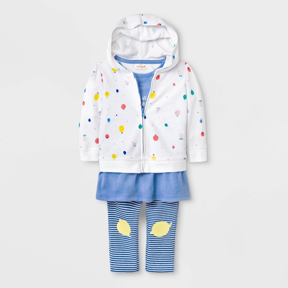 Baby Girls' Tunic, Hoodie and Leggings Set - Cat & Jack Blue/White 0-3M