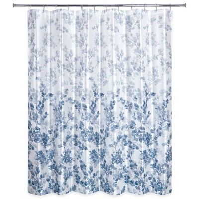 Ombre Vine Floral Shower Curtain Navy - Allure Home Creation