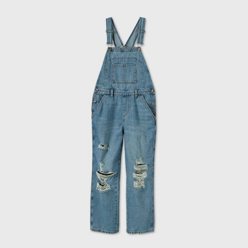 Women's Oversized Distressed Overalls - Wild Fable™ Medium Wash - image 1 of 3