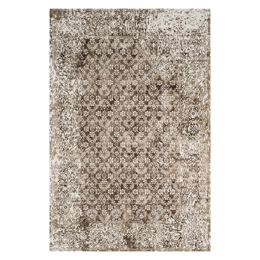 9'X12' Floral Area Rug Ivory/Light Brown - Safavieh