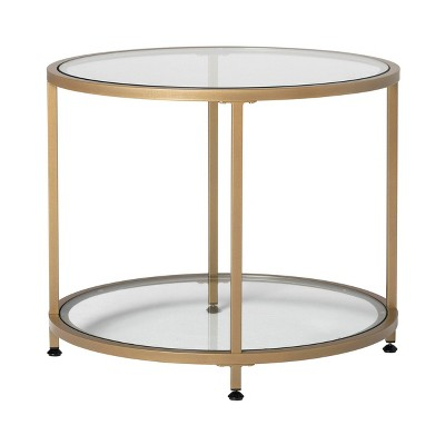 """26"""" Camber Modern Glass Round End Table - Studio Designs"""
