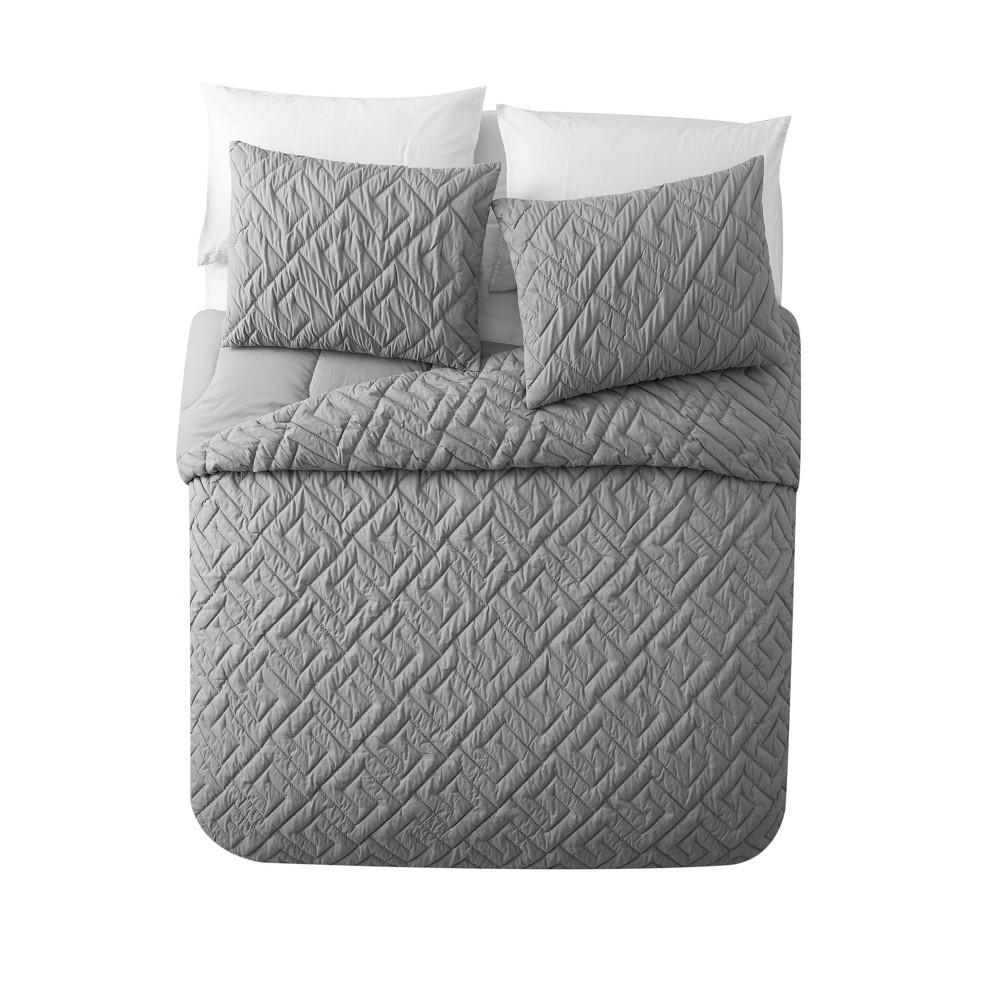 Full/Queen 3pc Artemis Embossed Comforter Set Gray - Vcny Home