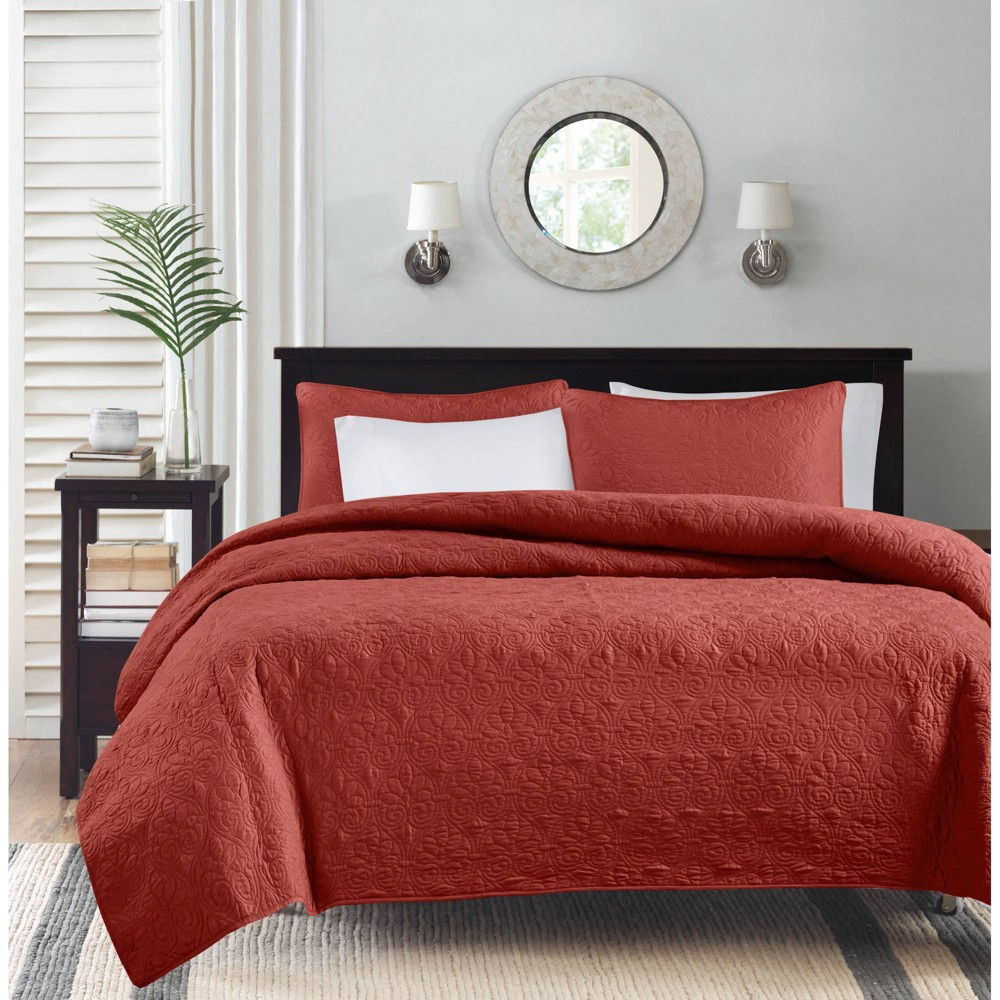 Promos Vancouver Quilted Coverlet Set (Full Queen) Red - 3-Piece