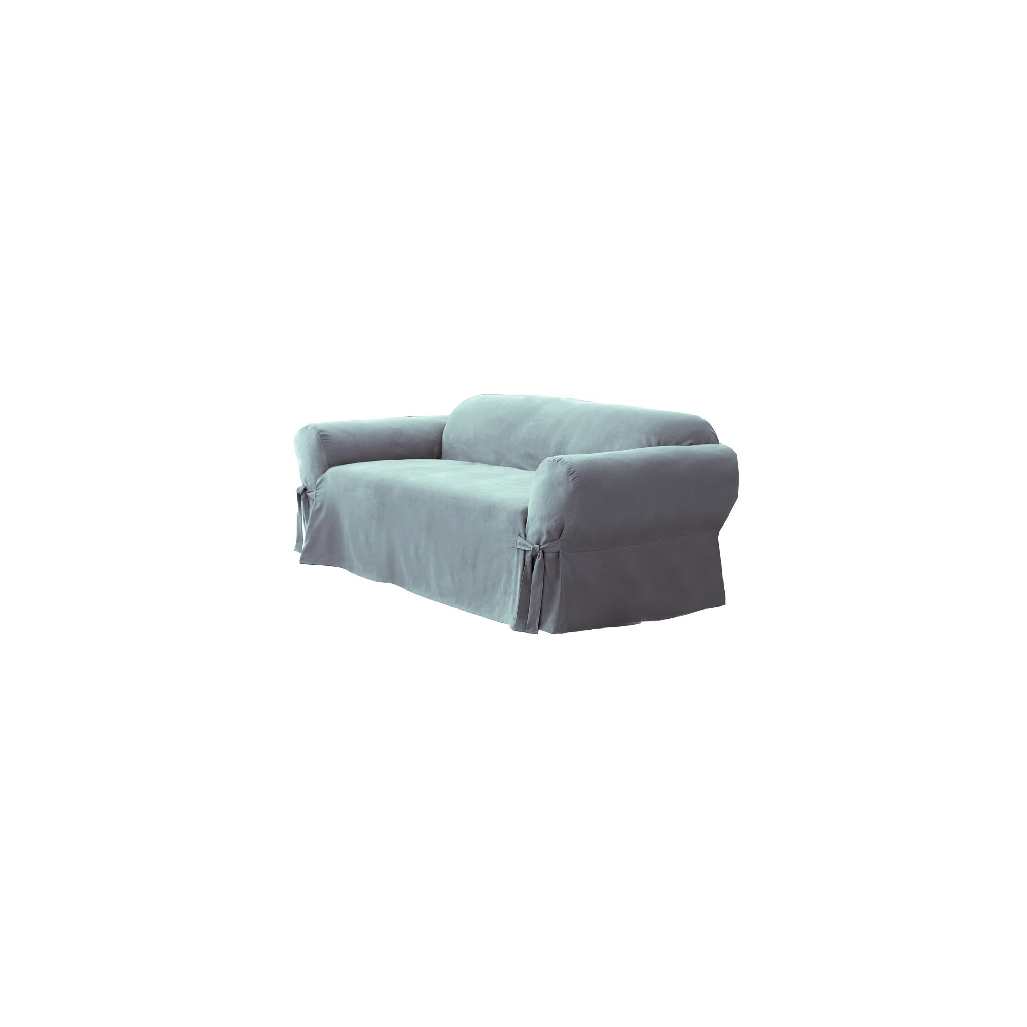 Soft Suede Sofa Slipcover Smoke Blue - Sure Fit, Grey Blue