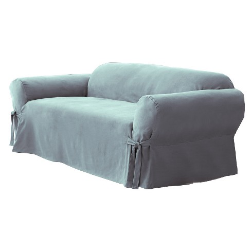 Soft Suede Sofa Slipcover Smoke Blue - Sure Fit