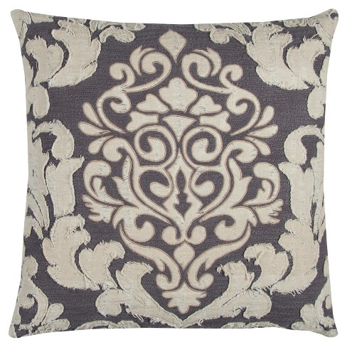 """Ivory Floral Cotton Throw Pillow (20""""x20"""") - Rizzy Home - image 1 of 3"""