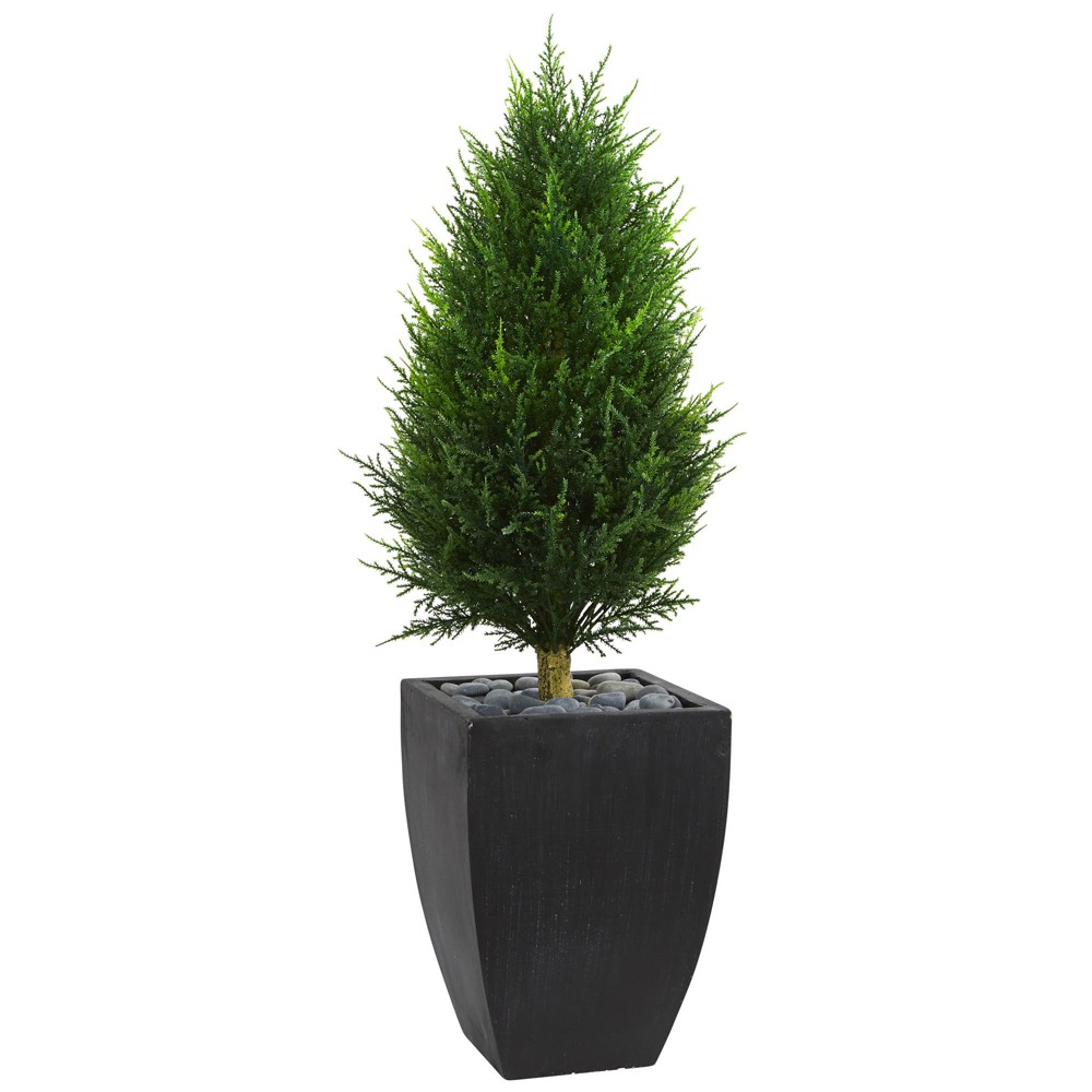 4ft Cypress Cone Artificial Topiary Tree In Black Planter - Nearly Natural, Green