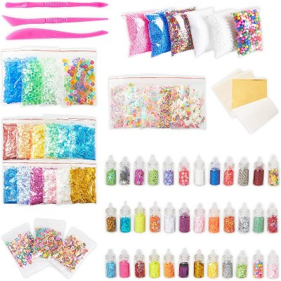Bright Creations 106-Pack DIY Slime Kit, Foam Beads, Sprinkles, Fruit Slices, Glitter Jars and Tools