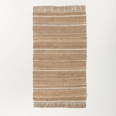3' x 5' Natural Jute Variegated Stripe Area Rug Cream - Hearth & Hand™ with Magnolia