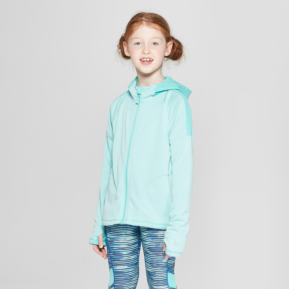Girls' Striped Elevated Tech Fleece Full Zip Hoodie - C9 Champion Spring Green S