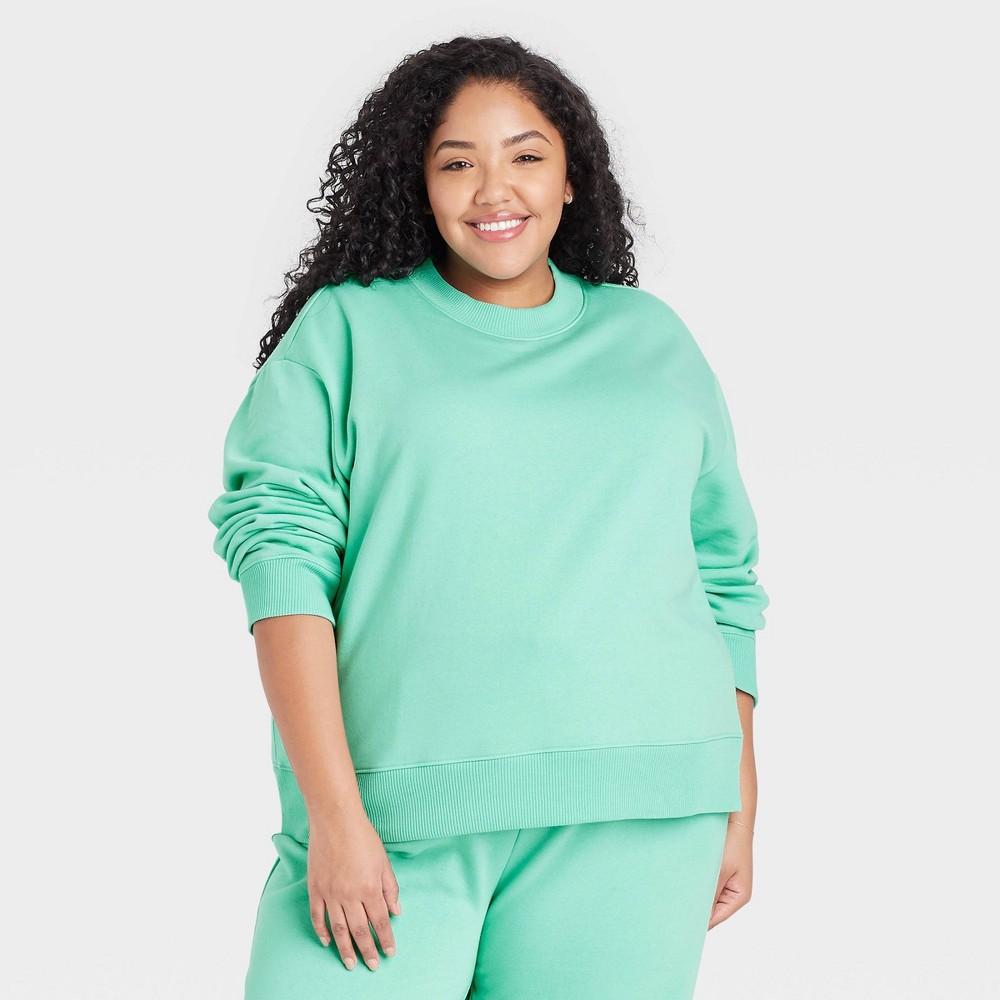 Women 39 S Plus Size Sweatshirt A New Day 8482 Green 3x