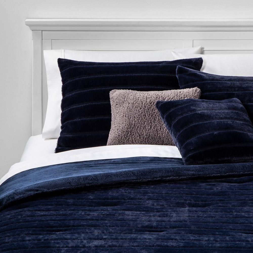 Image of King Whistler Faux Fur 5pc Bed SetIndigo, Blue