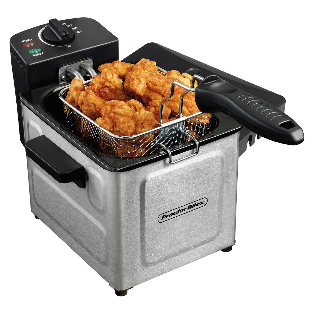 Proctor Silex 1.6qt Professional Deep Fryer - Stainless Steel 35041, Silver Proctor-Silex Professional Style Deep Fryer - 35041 For quick heating and frying, choose Proctor Silex deep fryers. Enjoy the foods you love by making them at home - chicken tenders, onion rings, doughnuts, egg rolls, and more. Deep frying is a snap when you have the right fryer in your kitchen! Color: Silver.