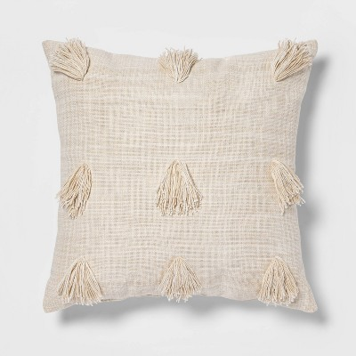 Euro Woven Textured Decorative Throw Pillow With Tassels Cream/Neutral - Opalhouse™