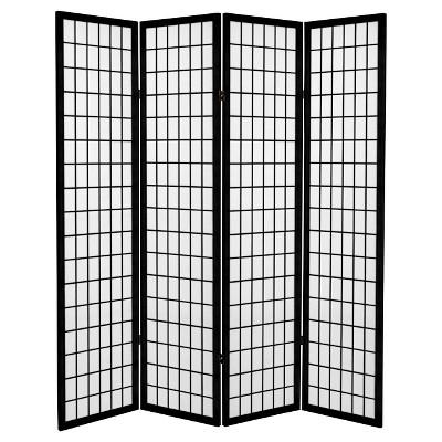 6 ft. Tall Canvas Window Pane Room Divider - Black (4 Panels)