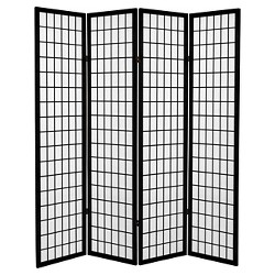 6 ft. Tall Canvas Window Pane Room Divider - Black (4 Panels)