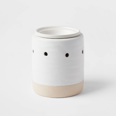 "5.2"" x 4.7"" Stoneware and Matte Clay Wax Warmer White - Threshold™"