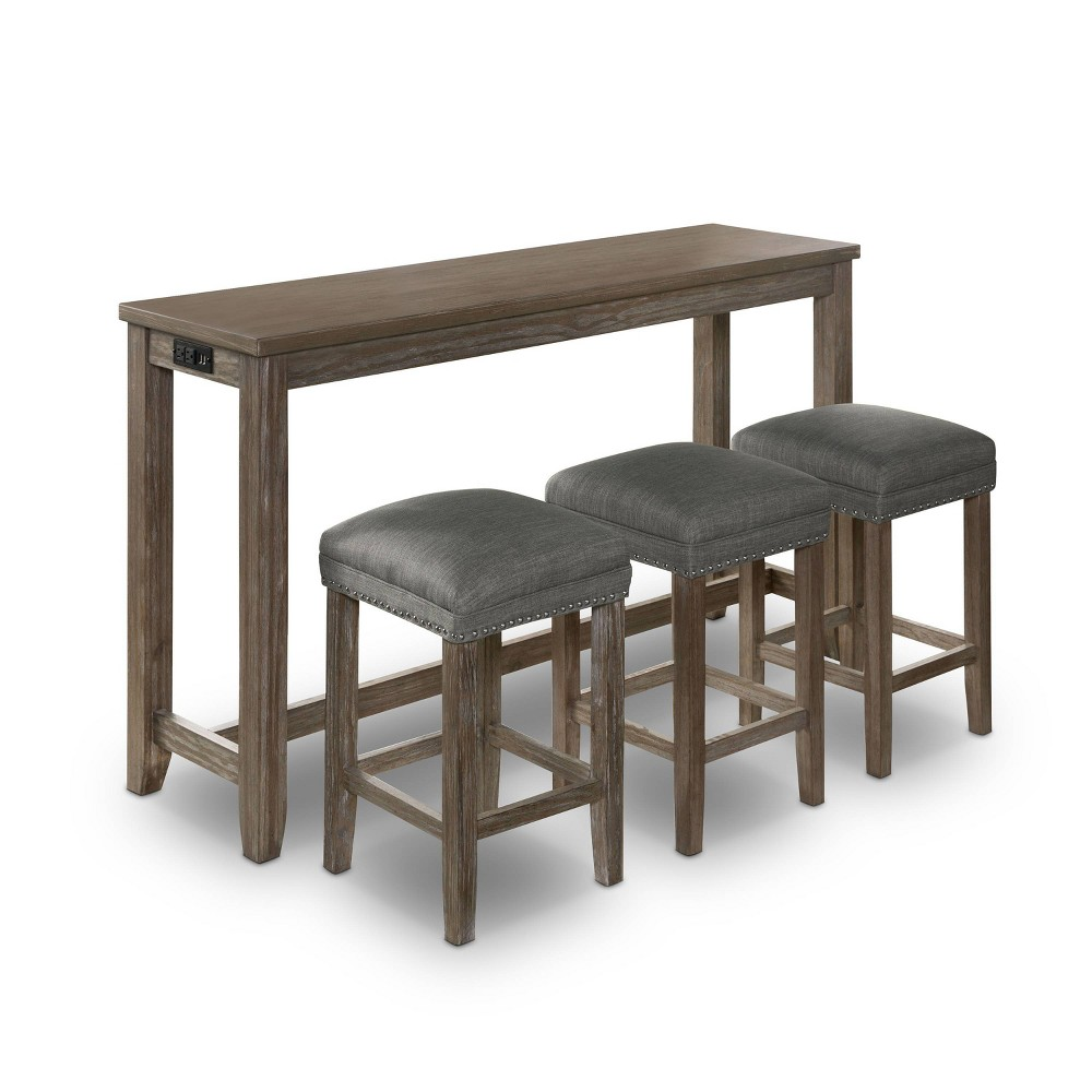 Promos 4pc Rockland Nailhead Trim Counter Height Table Set with USB Plug Gray - HOMES: Inside + Out